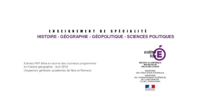 E N S E I G N E M E N T D E S P É C I A L I T É HISTOIRE - GÉOGRAPHIE - GÉOPOLITIQUE - SCIENCES POLITIQUES Extraits PNF Mi...