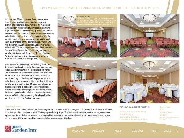 Hilton Garden Inn Detroit   Southfield EBrochure CONTACTNEXT PRINT  CLOSEWELCOME; 2.