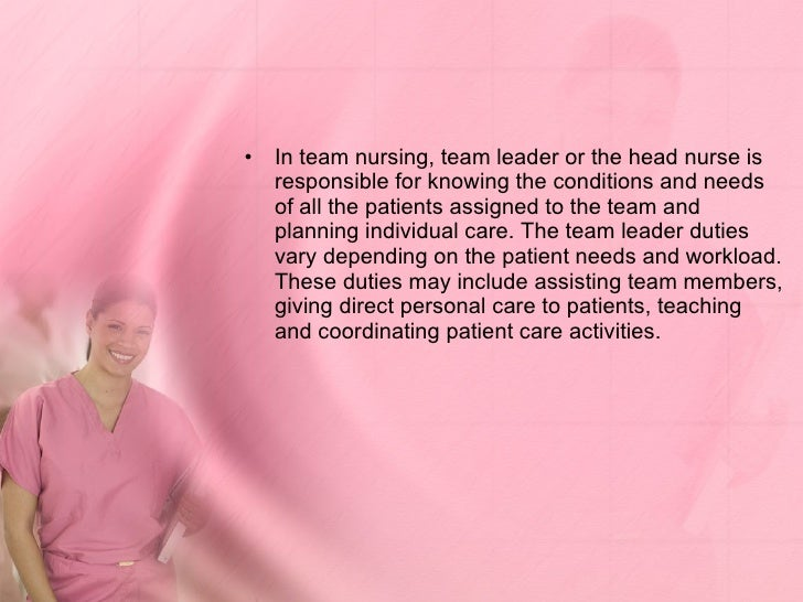 nurse team leader experience essay Effective team leadership the area of team leadership attracts a lot of attention in the modern world because of the need to assemble and deploy diverse teams for the completion of projects.