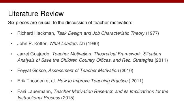 review of literature on work motivation Literature review on positive reinforcement 4 mastery extrinsic motivation is when students involve themselves in activities in order to receive rewards for their.