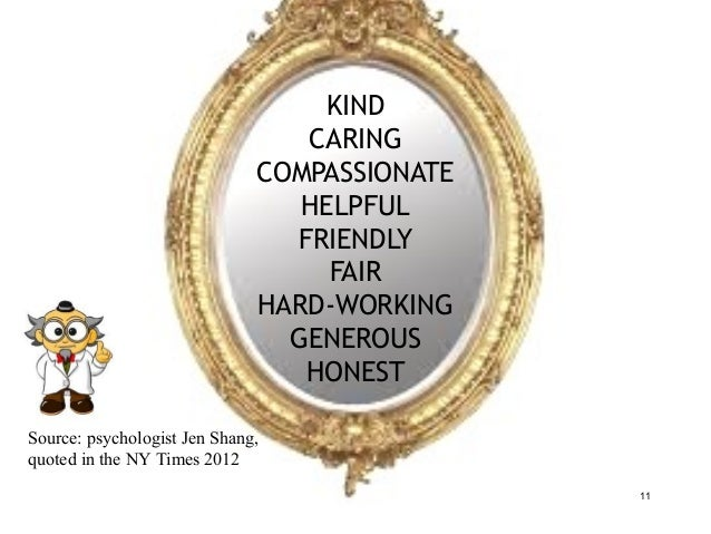 11 KIND CARING COMPASSIONATE HELPFUL FRIENDLY FAIR HARD-WORKING GENEROUS HONEST Source: psychologist Jen Shang, quoted in ...