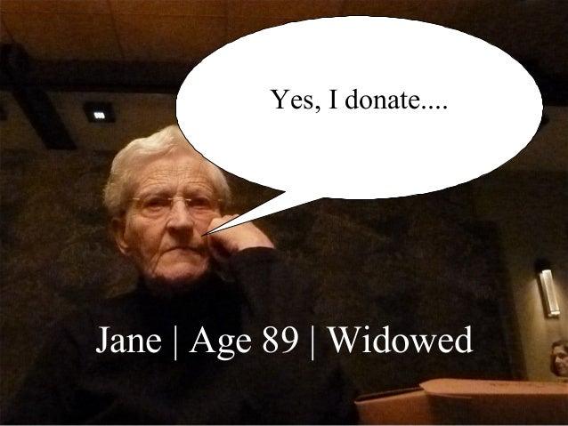 © 2014 Tom Ahern   www.AHERNCOMM.com 17 Yes, I donate.... Jane   Age 89   Widowed