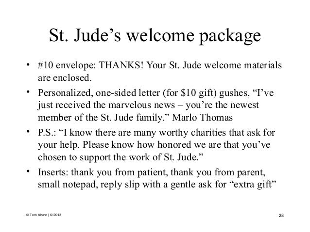 St. Jude's welcome package • #10 envelope: THANKS! Your St. Jude welcome materials are enclosed. • Personalized, one-sided...