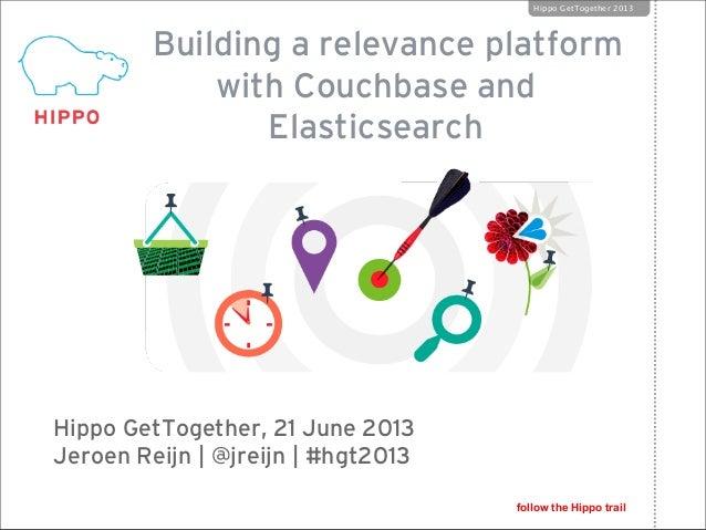 Building a relevance platformwith Couchbase andElasticsearchHippo GetTogether, 21 June 2013Jeroen Reijn | @jreijn | #hgt20...