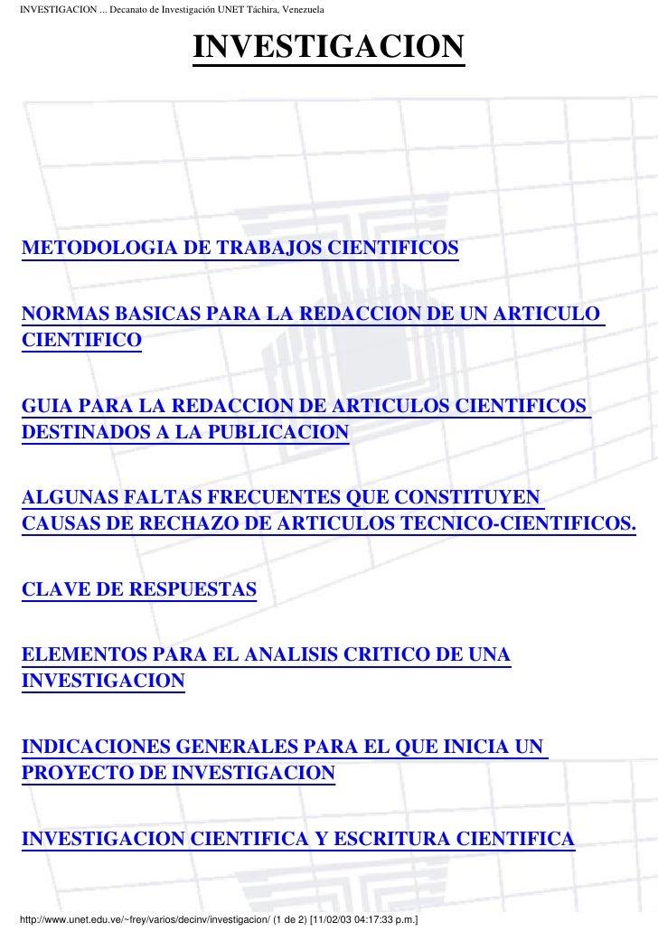 INVESTIGACION ... Decanato de Investigación UNET Táchira, Venezuela                                           INVESTIGACIO...