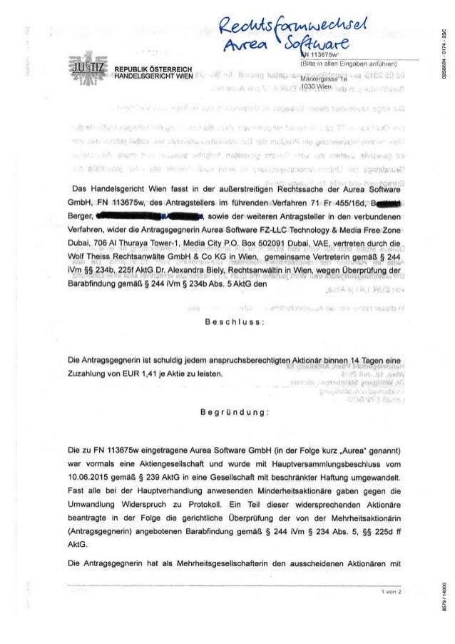 HG Wien zum Rechtsformwechsel Aurea Software