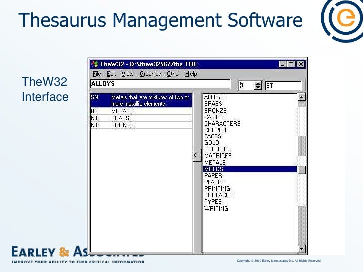 Thesaurus Management Software<br />High-end, multi-user client-server, large scale systems<br />($3000/single user - $75,0...