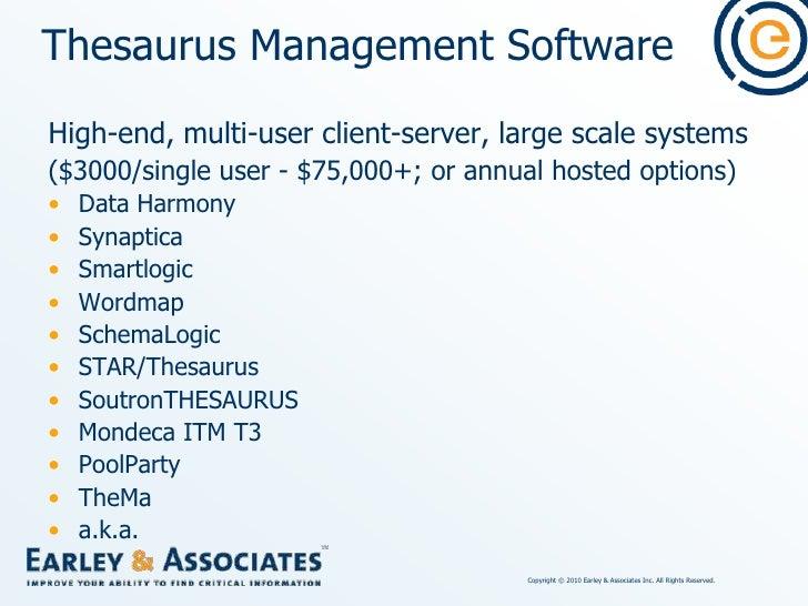 Thesaurus Management Software<br />Data Harmony Thesaurus Master<br />Access Innovations (Albuquerque, NM)<br />www.dataha...