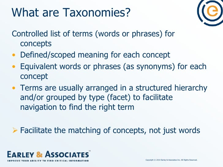 What are Taxonomies?<br />Controlled list of terms (words or phrases) for concepts<br />Defined/scoped meaning for each co...