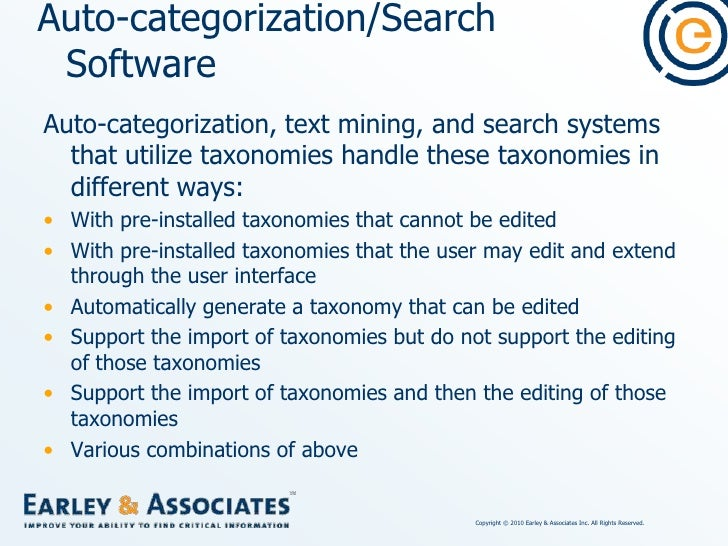 Auto-categorization/Search Software<br />Software that can import and use taxonomies but lacking user-interface features t...