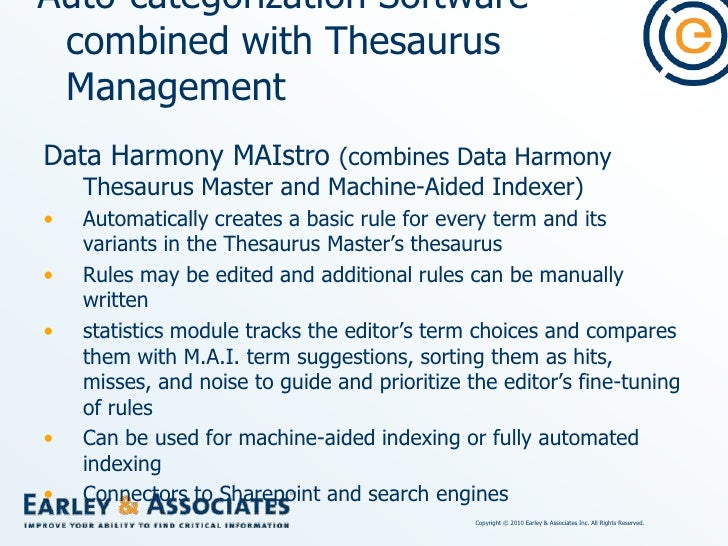 Auto-categorization Software combined with Thesaurus Management<br />Smartlogic Semaphore Classification Server<br />(conn...