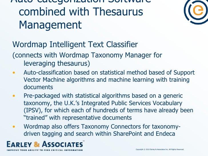 Auto-categorization Software combined with Thesaurus Management<br />SAS Enterprise Content Categorization (ECC)<br />(For...
