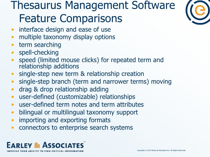 Thesaurus vs. Ontology Software<br />Ontologies additionally have:<br />Classes for terms <br />Customizable semantic rela...