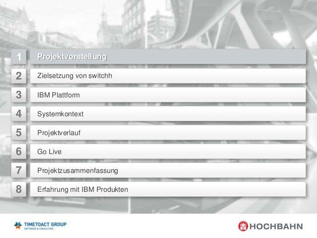 Projektvorstellung  2  Zielsetzung von switchh  3  IBM Plattform  4  Systemkontext  5  Projektverlauf  6  Go Live  7  Proj...