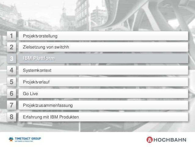 1  Projektvorstellung  2  Zielsetzung von switchh  IBM Plattform  4  Systemkontext  5  Projektverlauf  6  Go Live  7  Proj...