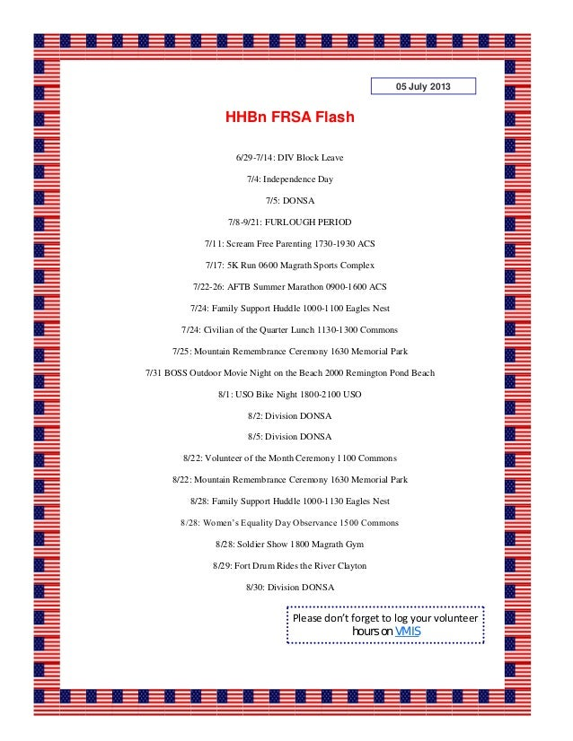 6/29-7/14: DIV Block Leave 7/4: Independence Day 7/5: DONSA 7/8-9/21: FURLOUGH PERIOD 7/11: Scream Free Parenting 1730-193...