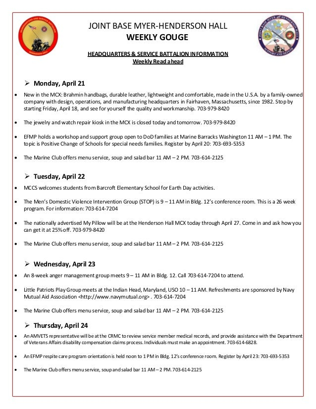 JOINT BASE MYER-HENDERSON HALL WEEKLY GOUGE HEADQUARTERS & SERVICE BATTALION INFORMATION Weekly Read ahead  Monday, April...