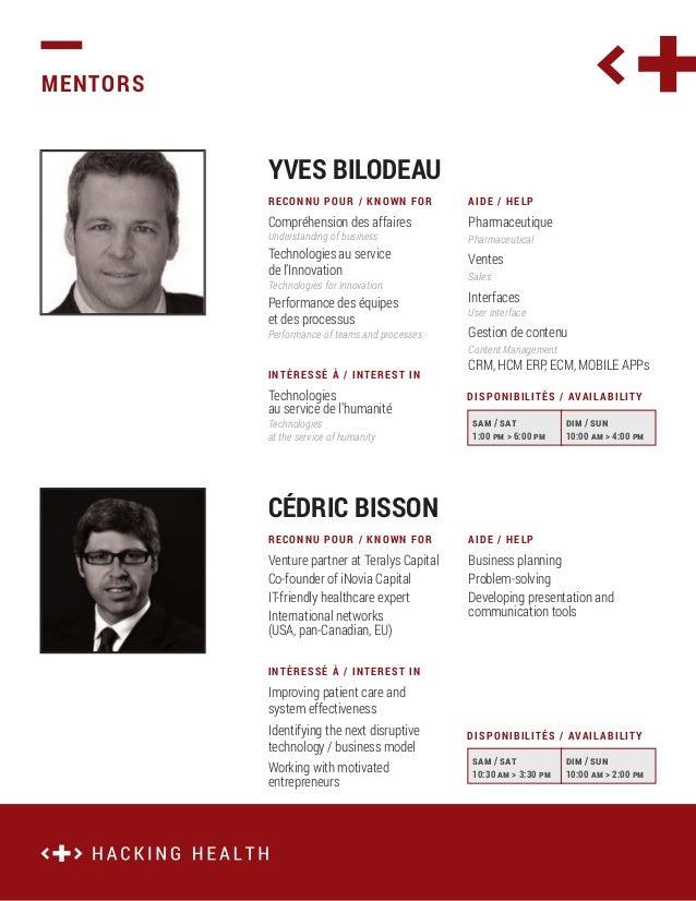 MENTORS  YVES BILODEAU RECONNU POUR / KNOWN FOR  AIDE / HELP  Compréhension des affaires  Pharmaceutique  Understanding of...