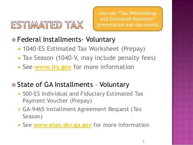 HHM Finance Night Tax Form Schedule C – Estimated Tax Form