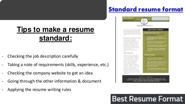 Standard Resume Sample | Resume Cv Cover Letter