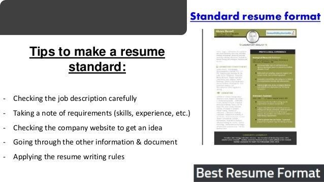 6. Standard Resume Format Tips ...