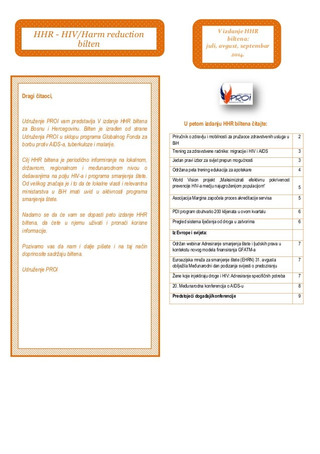 U petom izdanju HHR biltena čitajte:  Priručnik o zdravlju i mobilnosti za pruţaoce zdravstvenih usluga u BiH  2  Trening ...