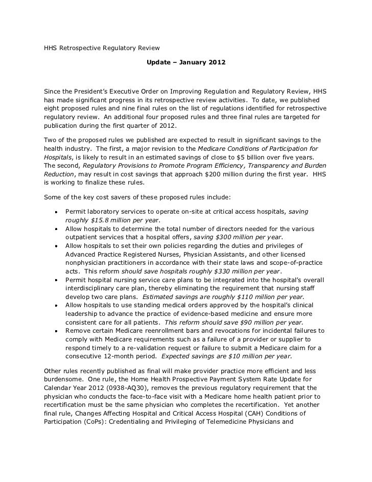 HHS Retrospective Regulatory Review                                          Update   January 2012               ...