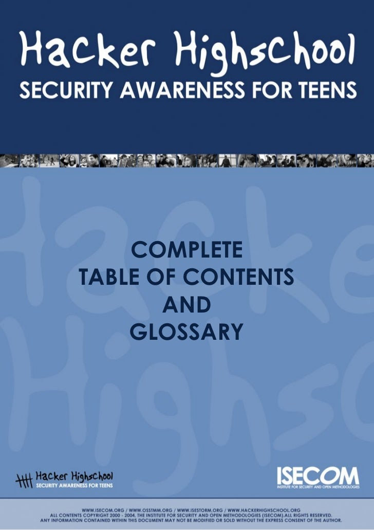 COMPLETETABLE OF CONTENTS       AND    GLOSSARY
