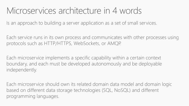 • Single monolithic database • Tiers of specific technologies Data in Traditional approach Data in Microservices approach ...