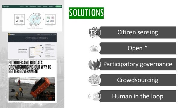 SOLUTIONS Citizen sensing Open * Participatory governance Crowdsourcing Human in the loop