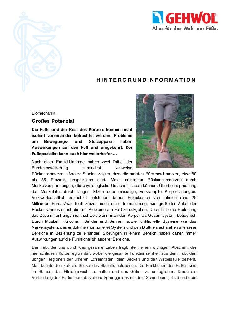 HINTERGRUNDINFORMATIONBiomechanikGroßes PotenzialDie Füße und der Rest des Körpers können nichtisoliert voneinander betrac...