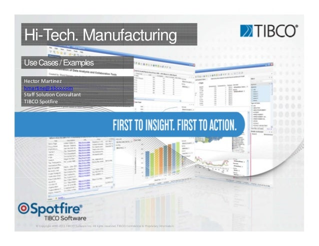 © Copyright 2000-2013 TIBCO Software Inc. All rights reserved. TIBCO Confidential & Proprietary Information. Hi-Tech. Manu...