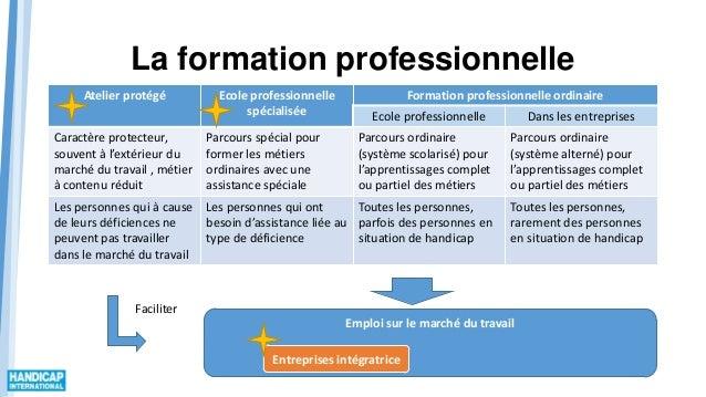 La formation professionnelle Atelier protégé Ecole professionnelle spécialisée Formation professionnelle ordinaire Ecole p...
