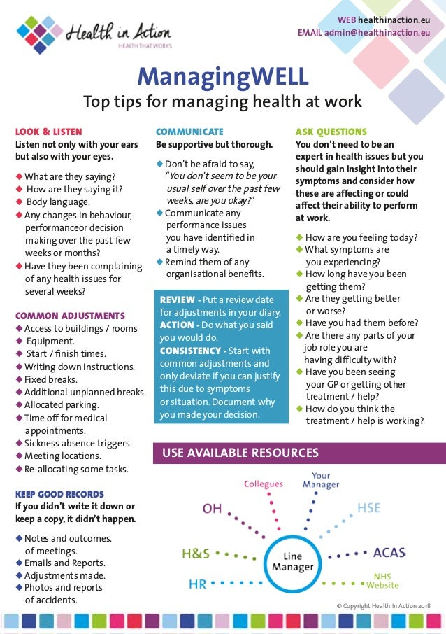 ManagingWELL Top tips for managing health at work LOOK & LISTEN Listen not only with your ears but also with your eyes.  ...