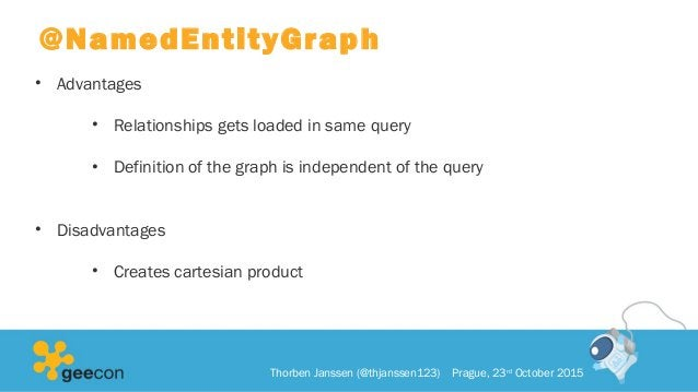 @NamedEntityGraph • Advantages • Relationships gets loaded in same query • Definition of the graph is independent of the q...
