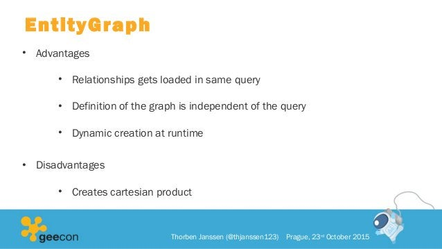 EntityGraph • Advantages • Relationships gets loaded in same query • Definition of the graph is independent of the query •...