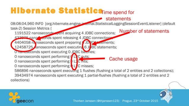 Hibernate Statistics 08:08:04,960 INFO [org.hibernate.engine.internal.StatisticalLoggingSessionEventListener] (default tas...