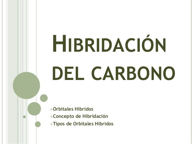 HIBRIDACIÓNDEL CARBONOOrbitales   HíbridosConcepto    de HibridaciónTipos   de Orbitales Híbridos