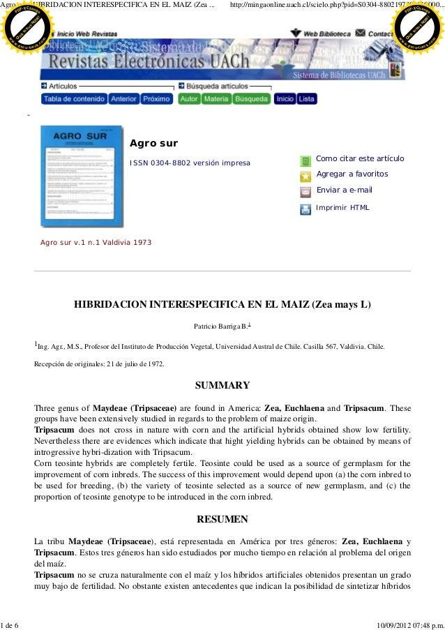 Agro surC- aHIBRIDACION INTERESPECIFICA EN EL MAIZ (Zea ...       -X h n                                                  ...