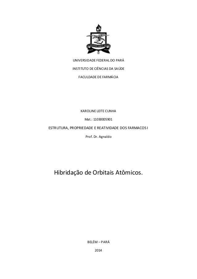 UNIVERSIDADE FEDERAL DO PARÁ INSTITUTO DE CIÊNCIAS DA SAÚDE FACULDADE DE FARMÁCIA KAROLINE LEITE CUNHA Mat.: 11030005901 E...