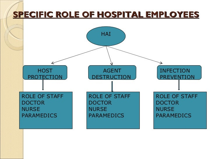 SPECIFIC ROLE OF HOSPITAL EMPLOYEES HAI HOST PROTECTION AGENT DESTRUCTION  INFECTION PREVENTION ROLE OF:- DOCTOR  NURSE PA...