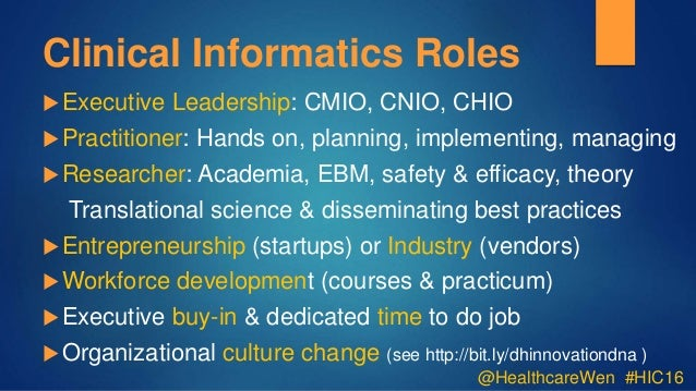 Clinical Informatics Some Lessons Learned