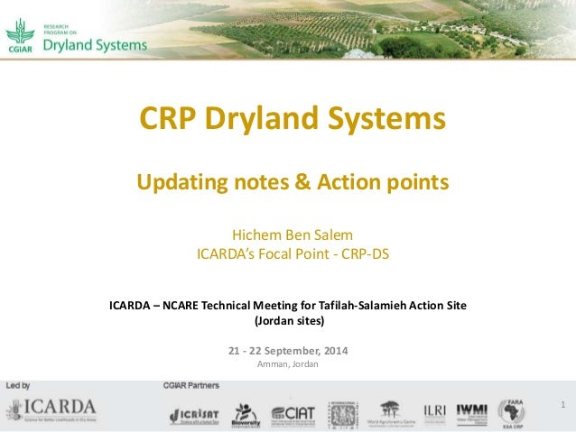 CRP Dryland Systems  Updating notes & Action points  Hichem Ben Salem  ICARDA's Focal Point - CRP-DS  ICARDA – NCARE Techn...