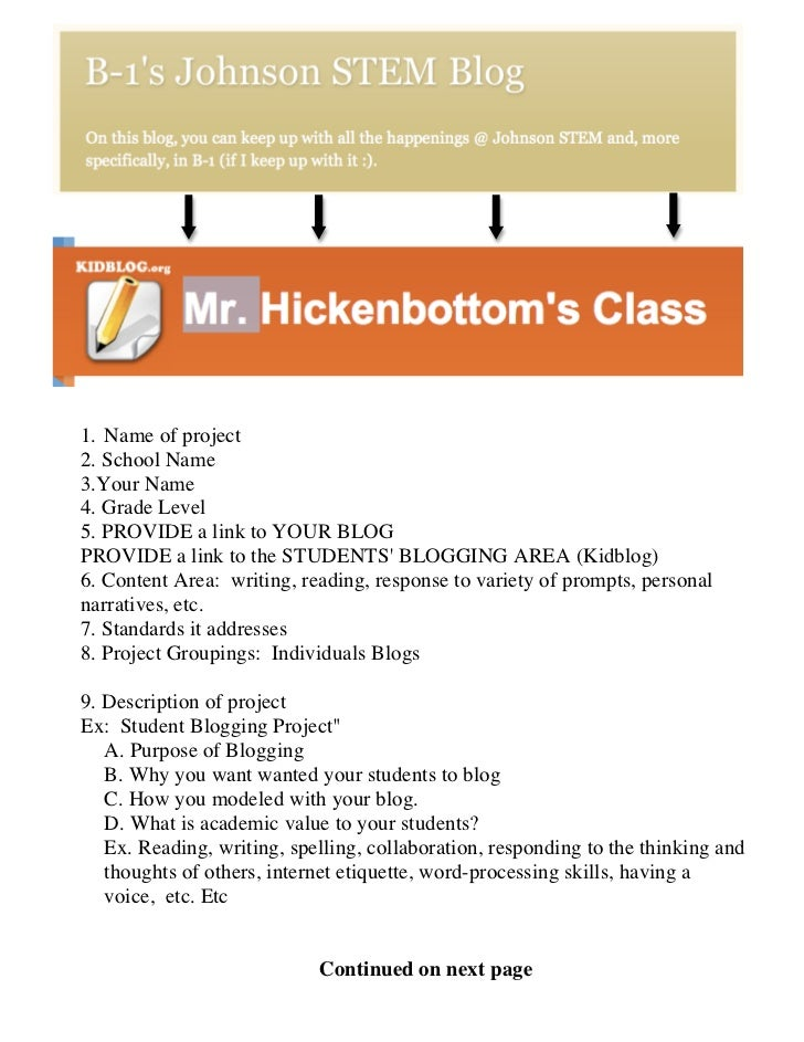 1. Name of project2. School Name3.Your Name4. Grade Level5. PROVIDE a link to YOUR BLOGPROVIDE a link to the STUDENTS BLOG...