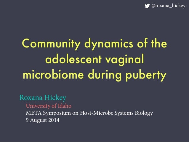 Community dynamics of the adolescent vaginal microbiome during puberty Roxana Hickey University of Idaho META Symposium on...