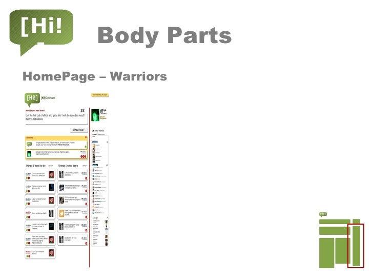 Body Parts <ul><li>HomePage – Warriors </li></ul>[Hi!]