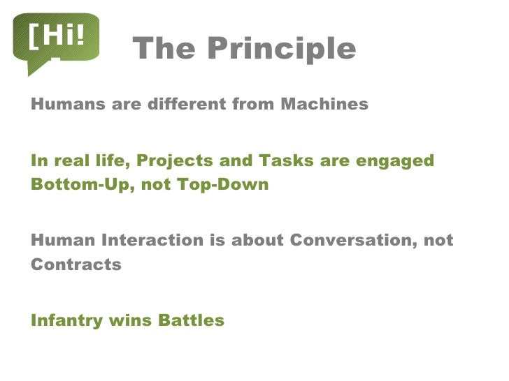 The Principle <ul><li>Humans are different from Machines </li></ul><ul><li>In real life, Projects and Tasks are engaged Bo...