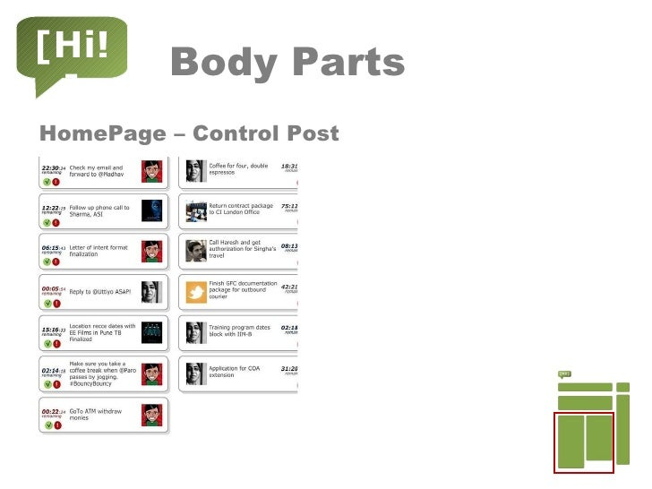 Body Parts <ul><li>HomePage – Control Post </li></ul>[Hi!]