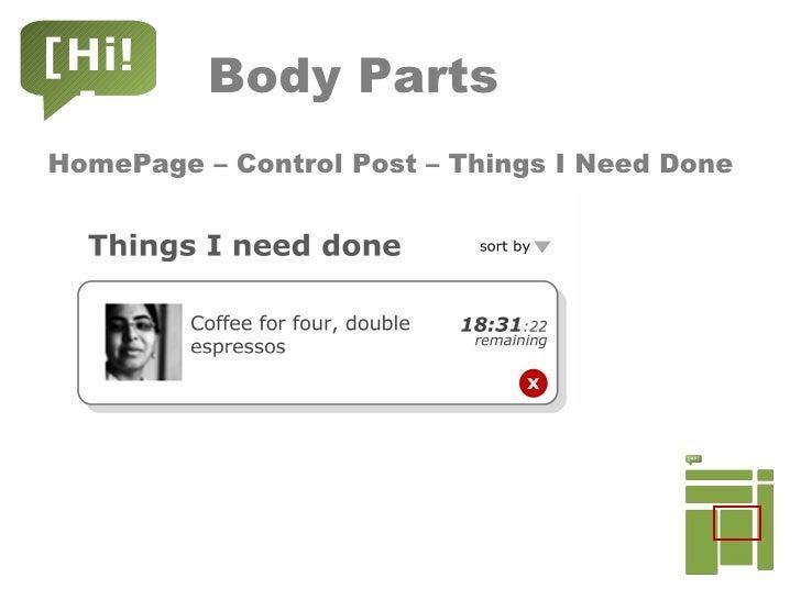 Body Parts <ul><li>HomePage – Control Post – Things I Need Done </li></ul>[Hi!]