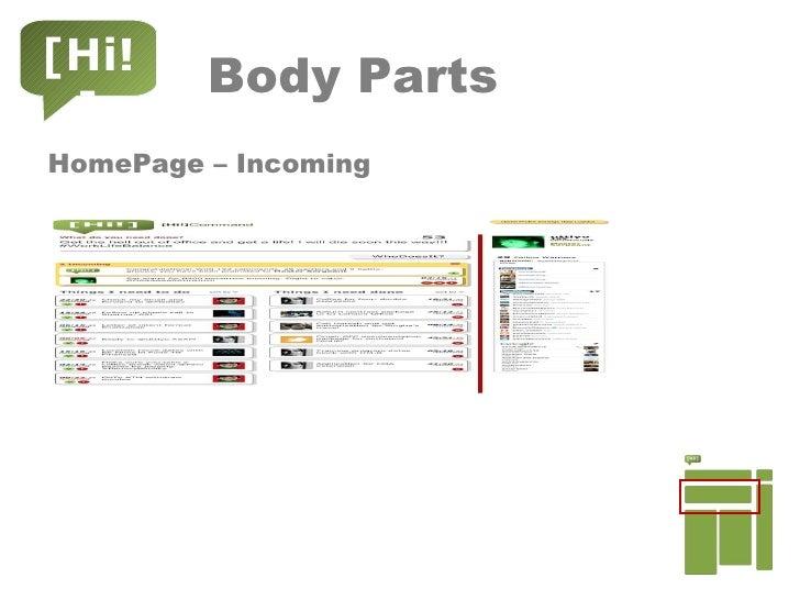 Body Parts <ul><li>HomePage – Incoming </li></ul>[Hi!]